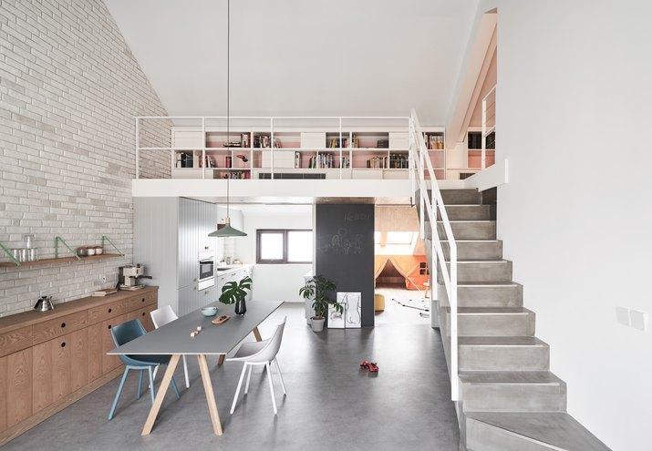 loft with concrete floors