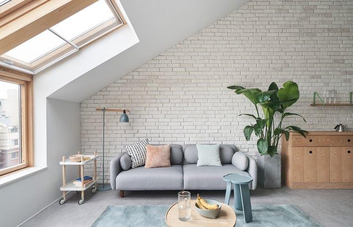 painted brick in living room