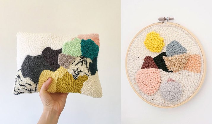 Punch Needle Cushion And Hoop Art