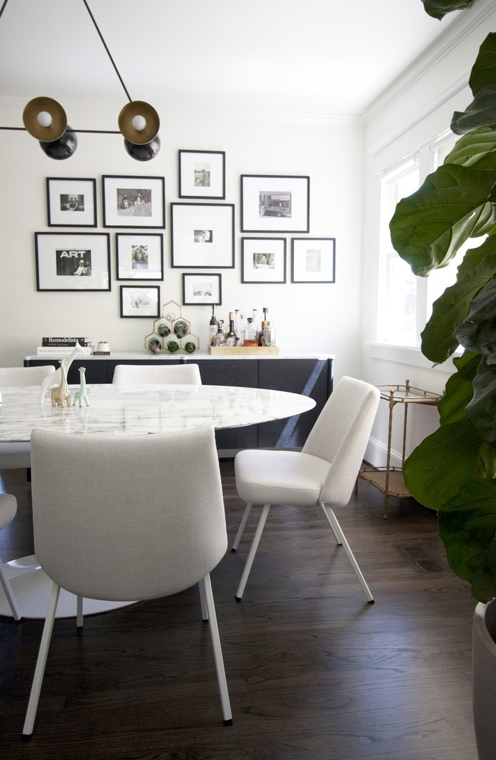 midcentury white dining room