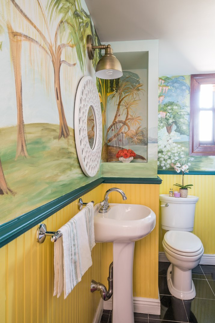 wall mural in bathroom