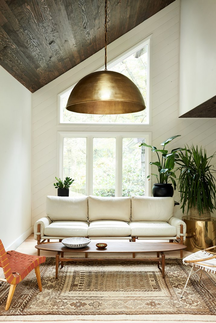 living room with wood ceiling