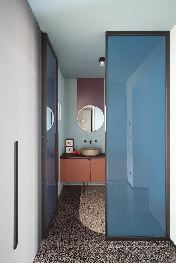 bathroom with terrazzo floors