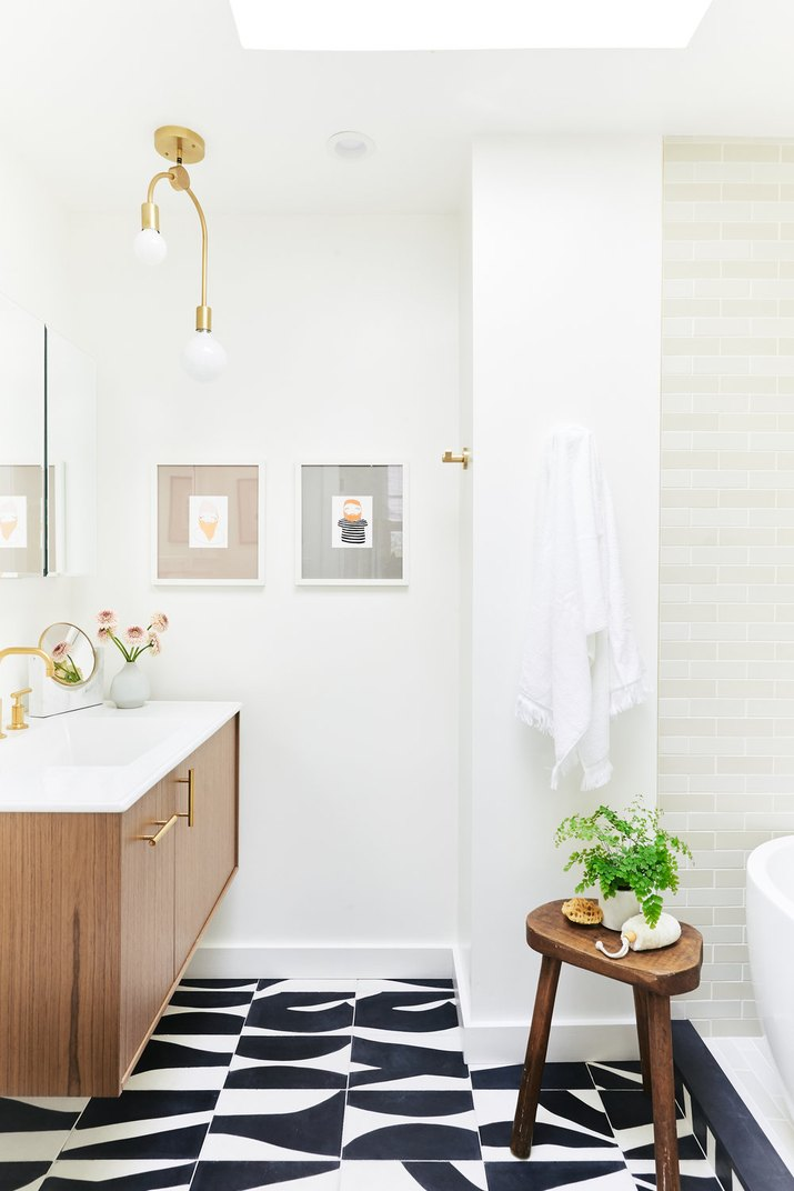 black and white bathroom with graphic tile