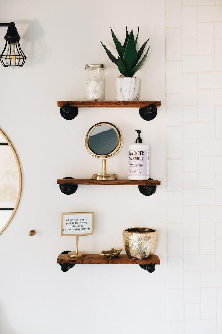 industrial modern floating shelves in bathroom
