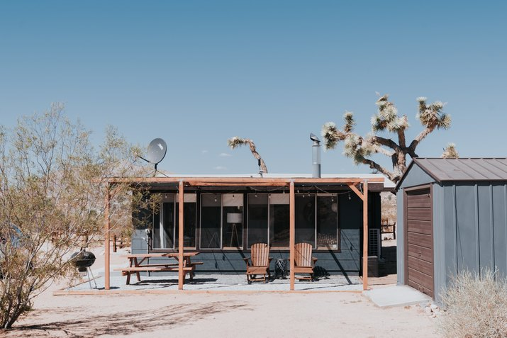 cabin back porch in desert