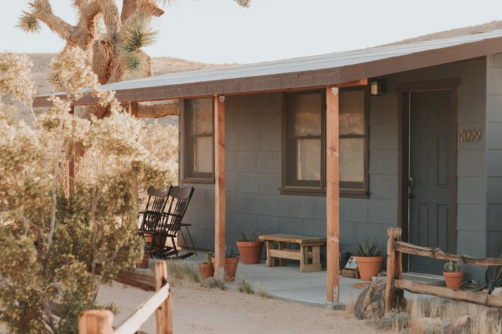 Joshua Tree cabin front porch in desert with porch