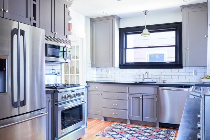 craftsman kitchen with gray cabinets