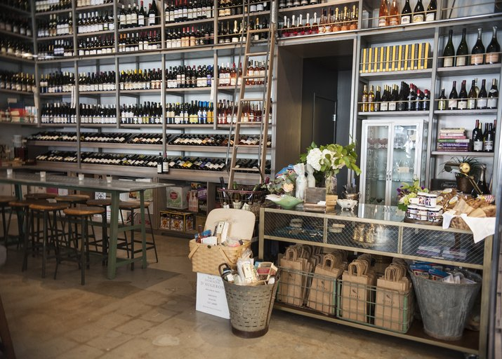 Expansive wine shelves with ladder
