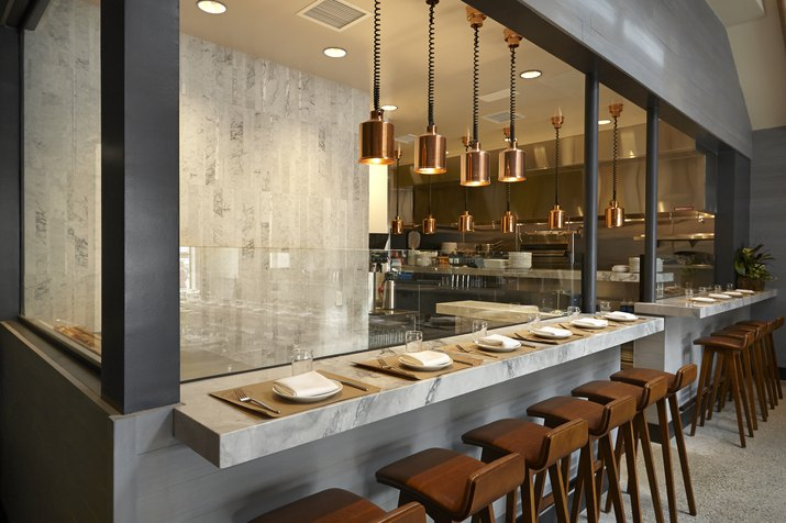 Counter seating with a view to the kitchen.