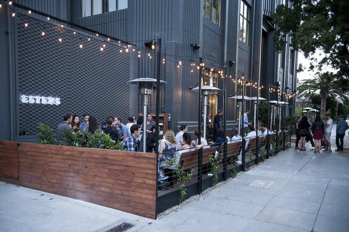Esters patio area with festoon lights