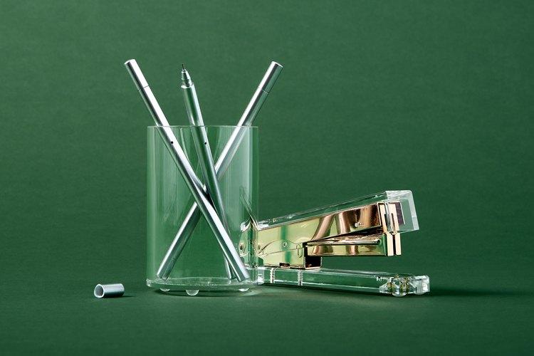 Poketo Lucite Stapler, $26 & Poketo Lucite Pencil Holder, $20