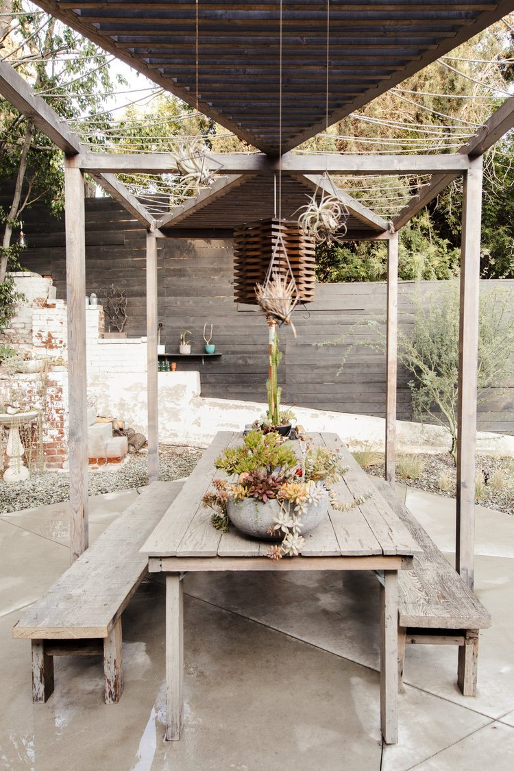Backyard pergola and dining area