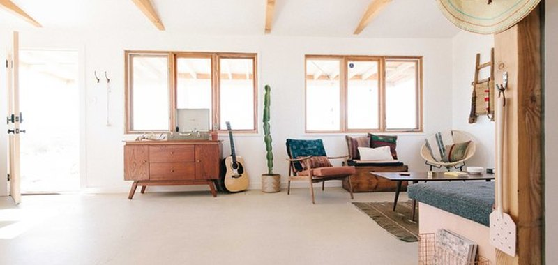 open concept living room in Joshua Tree home