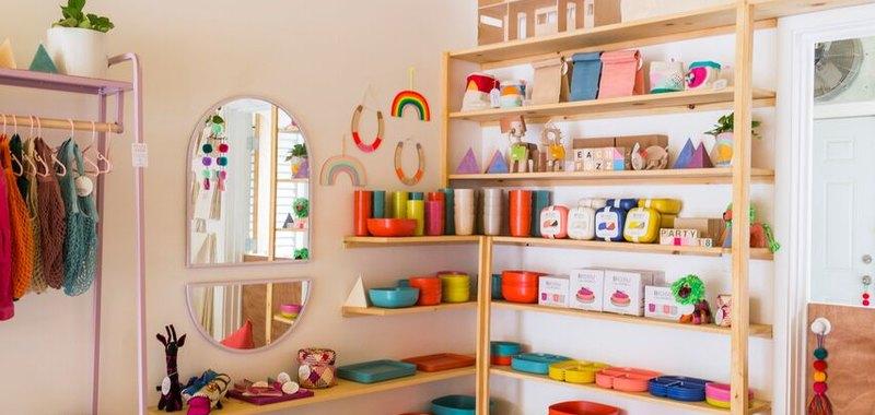 LGBTQ-inclusive children's shop A colorful corner at Little Peach Fuzz