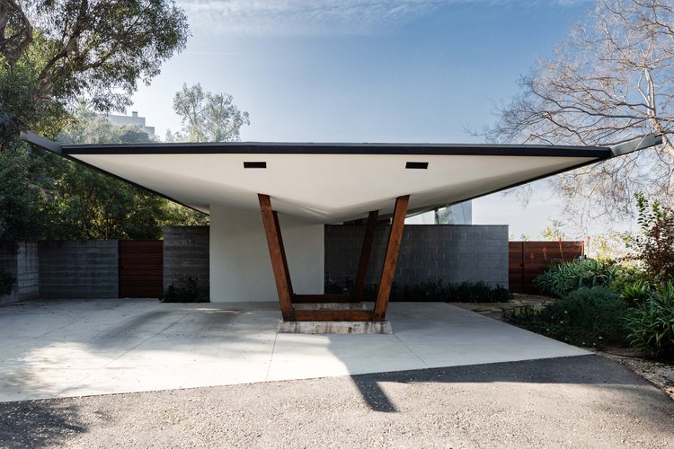 Parking area of midcentury home by John Lautner owned by Trina Turk in Echo Park