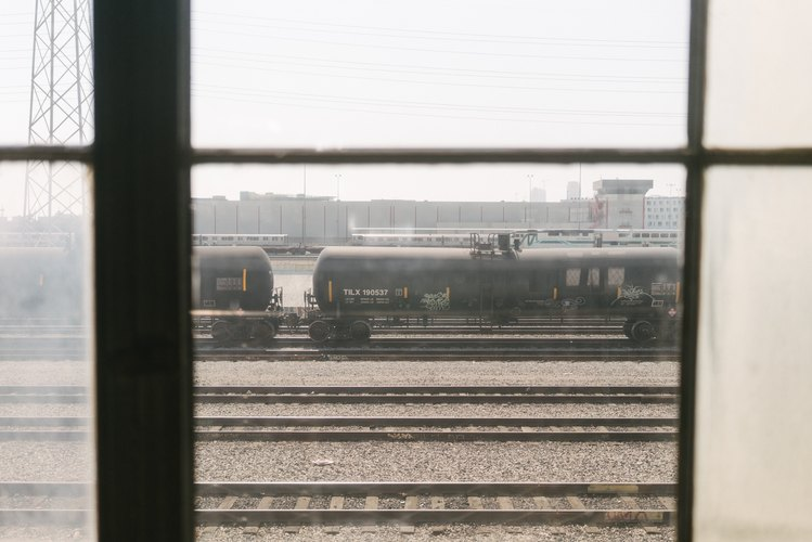 Trains outside the office window