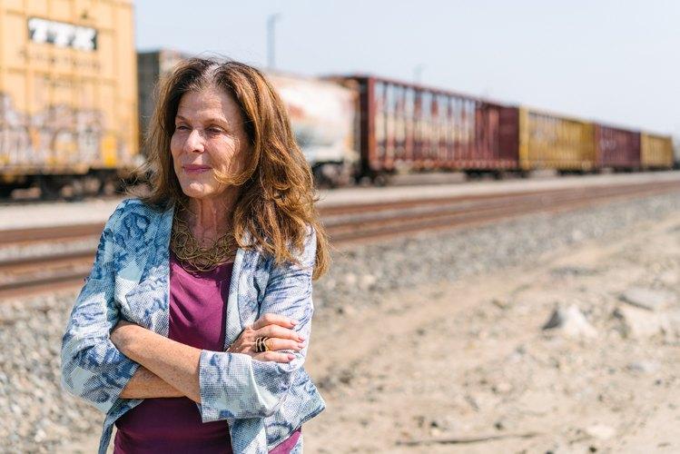 Mia Lehrer at the train tracks along the L.A. River