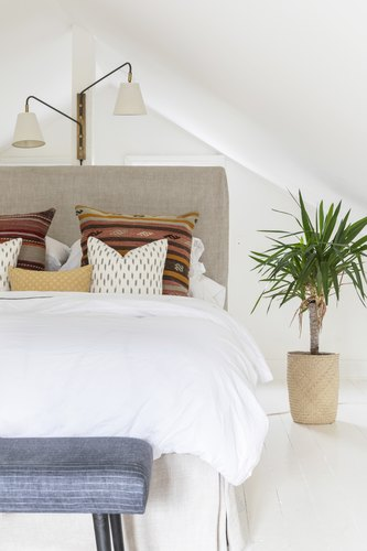 Boho pillows on bed with cream fabric headboard, and plant