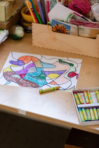 Drawing made with crayons