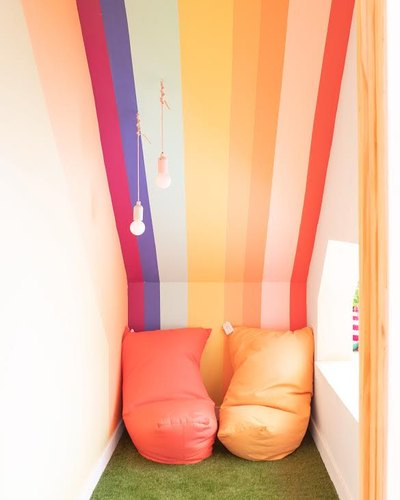 rainbow reading nook Reading nook at Chicago's Little Peach Fuzz