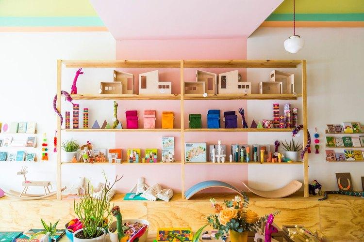 Modern toy shelves at Little Peach Fuzz