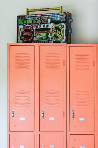 Melon lockers with painted boombox