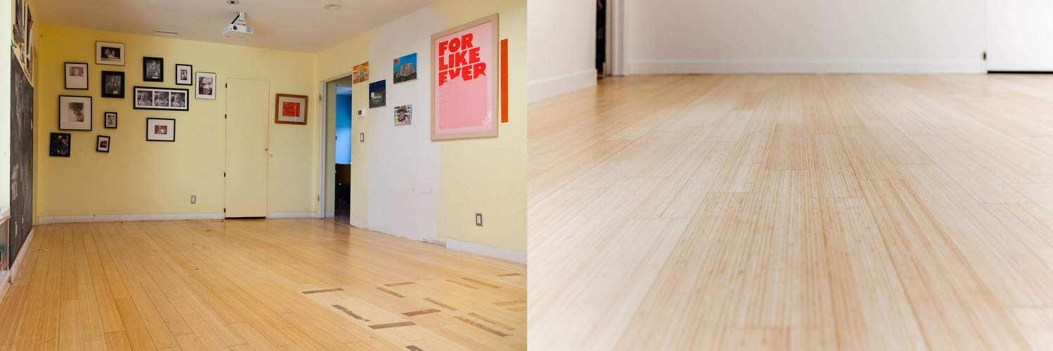 Before-and-after shot of the playroom