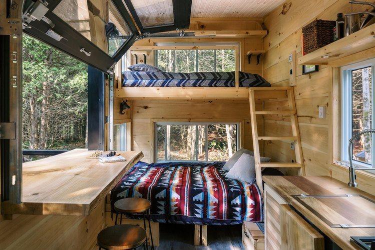 Cabinscape interior bed and loft bed