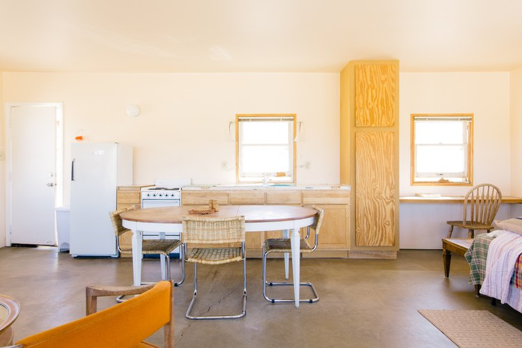 The kitchen with plywood built-ins at Sonora.