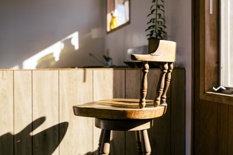 Stool details in the the sun-drenched kitchen at Sunever.