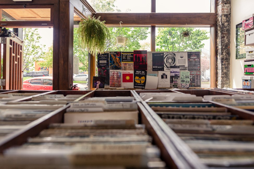 Record bins at the front of the store